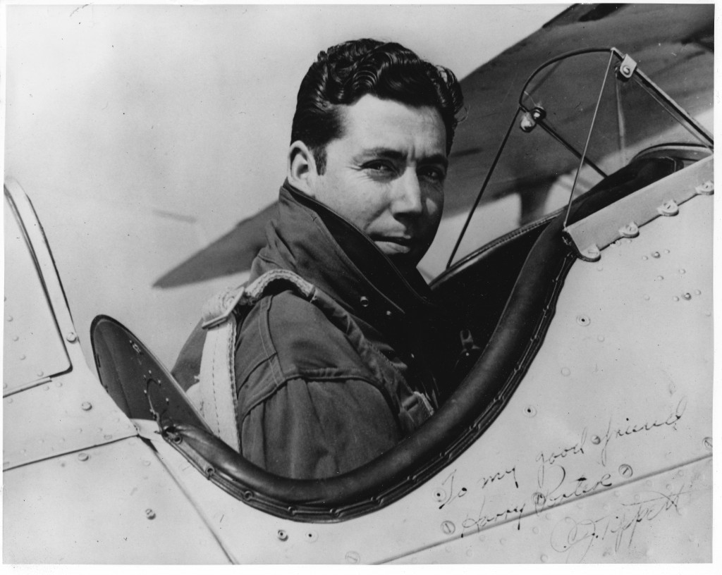 Col. C. J. Tippett in the cockpit